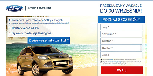 Landing Page Ford Leasing